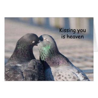 Baiser de pigeons - carte d'art de Frameable