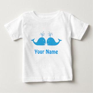 Baleine bleue de garçon jumeau mignonne t-shirt pour bébé