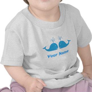 Baleine bleue de garçon jumeau mignonne t-shirt
