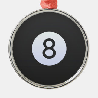 Ball 8 rundes silberfarbenes ornament