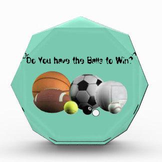 Ball-Sport haben Sie die Bälle, zum zu gewinnen? Acryl Auszeichnung