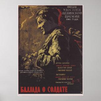 """""""Ballade film soviétique 1961 de l'URSS de soldat"""" Affiche"""