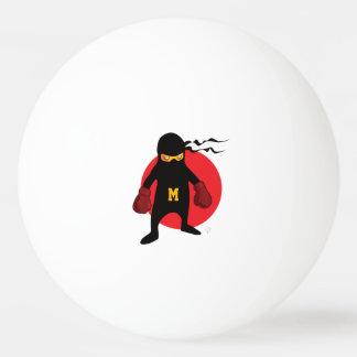 Balle De Ping Pong Monogramme. Kawaii Ninja mignon pour le Geek. nerd