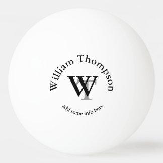 Balle Tennis De Table monogramme. blanc personnalisé