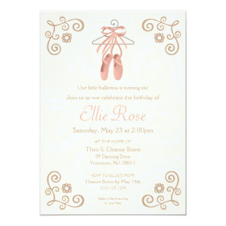 Ballerina Ballet Shoes Girl Birthday Invitation Karte