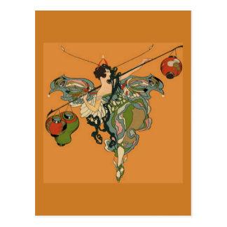 Ballerina-Fee mit Laternen Postkarte