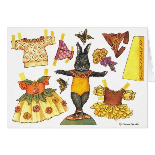 Ballerina-Häschen-Halloweenpapierpuppenkarte Grußkarte
