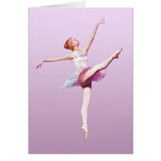 Ballerina im Rosa und im Lavendel, Monogramm Karte