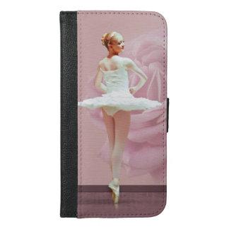 Ballerina im Weiß mit rosa Rose
