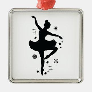 Ballerina mit Sternen und Schneeflocken Silbernes Ornament