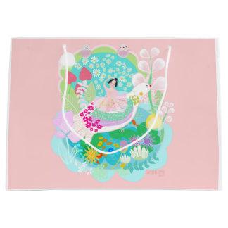 Ballerina mit Vögeln u. Blumen und Vogelgeschenk Große Geschenktüte