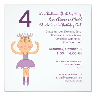 Ballerina-Prinzessin Birthday Party Quadratische 13,3 Cm Einladungskarte