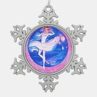 BALLERINA-SCHNEE-FLOCKEN-VERZIERUNG SCHNEEFLOCKEN Zinn-Ornament