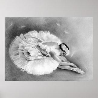 Ballerina-sterbendes Schwan-Plakat Poster