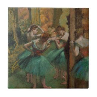 Ballett-Grafik-Tänzer rosa und grüner Edgar Degas Fliese