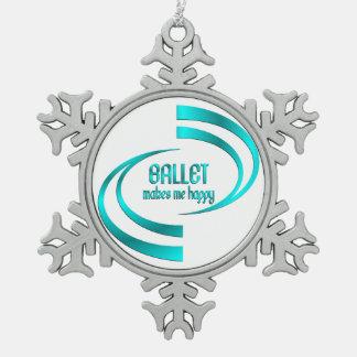 Ballett macht mich glücklich schneeflocken Zinn-Ornament