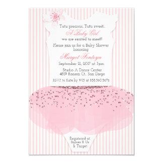Ballettröckchen-Ballerina-Babyparty-Einladung Karte
