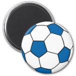 ballon de football bleu et blanc magnets