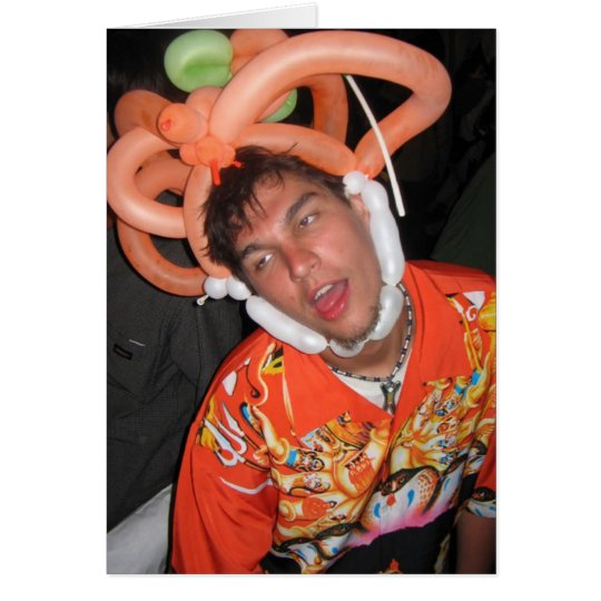 Ballon-Hut-Party-Junge Grußkarte