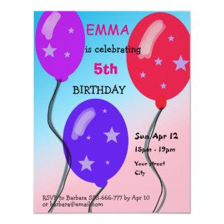 Ballon-Kindergeburtstag-Party-Karte personalisiert 10,8 X 14 Cm Einladungskarte
