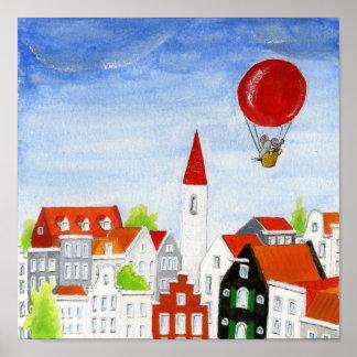 Ballon-Maus u. Dach-Plakat Poster