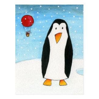 Ballon-Maus u. Pinguin #2 Postkarte