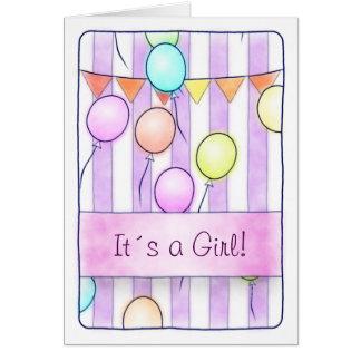 Ballone auf rosa Streifen Karte