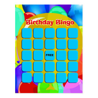 Ballone des Geburtstags-Bingo-| Postkarte