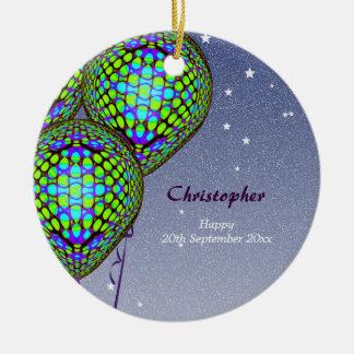 Ballone im Blau und im Grün Keramik Ornament