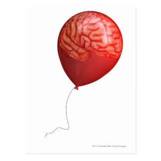 Ballonillustration mit einem gelegten Gehirn Postkarte