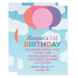 Ballons colorés de l'invitation | de fête carton d'invitation  12,7 cm x 17,78 cm