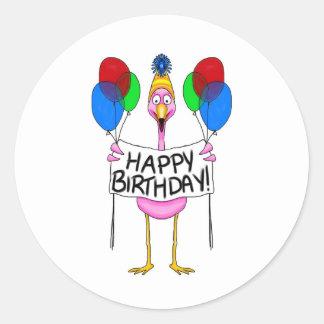 Ballons lunatiques de joyeux anniversaire de autocollant rond