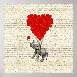 Ballons romantiques d éléphant et de coeur affiches