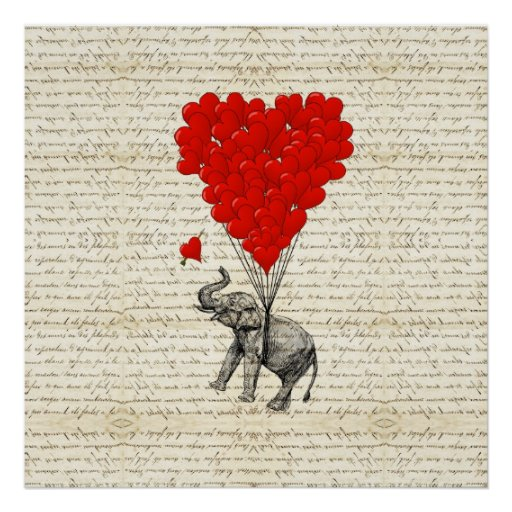 Ballons romantiques d'éléphant et de coeur affiches