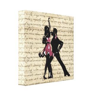 Ballsaaltänzer auf Vintagem Papier Galerie Falt Leinwand