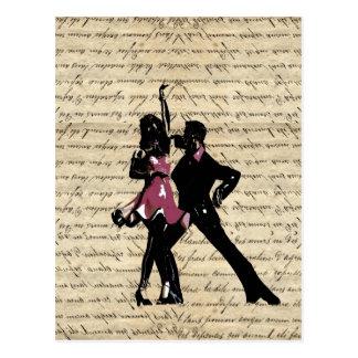 Ballsaaltänzer auf Vintagem Papier Postkarte