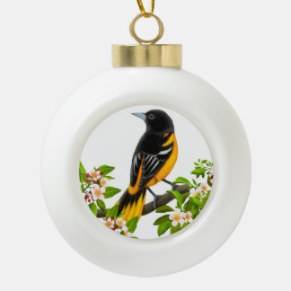 Baltimore Oriole-Vogel in der Keramik Kugel-Ornament