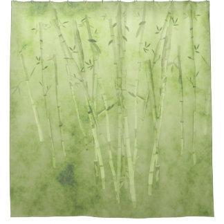 Bambus auf einem verblaßten grünen Hintergrund Duschvorhang