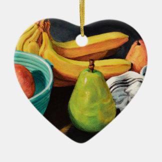 Bananen-Apple-Birnen-Stillleben Keramik Herz-Ornament