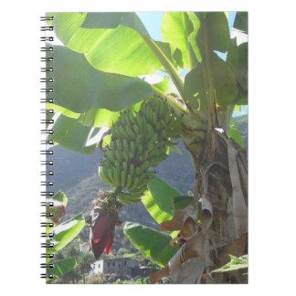Bananen-Baum mit Blumen-Notizbuch Spiral Notizblock