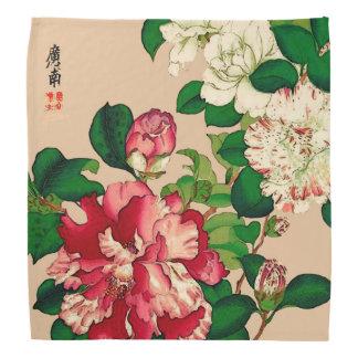 Bandana Camélias japonais vintages. Rose-foncé sur le