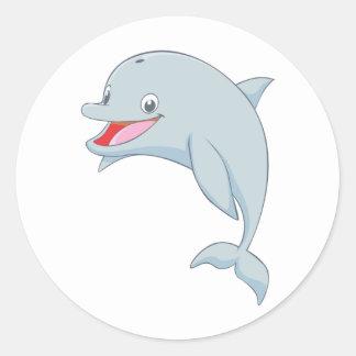 Bande dessinée espiègle mignonne de dauphin sticker rond