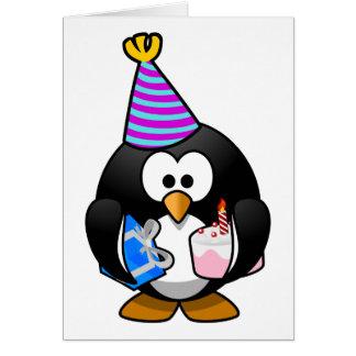 Bande dessinée mignonne de pingouin de partie cartes de vœux