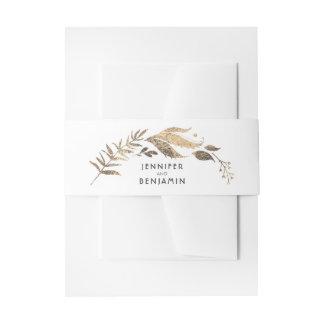 Bandeau De Faire-part Blanc et mariage de laurier de feuille d'or