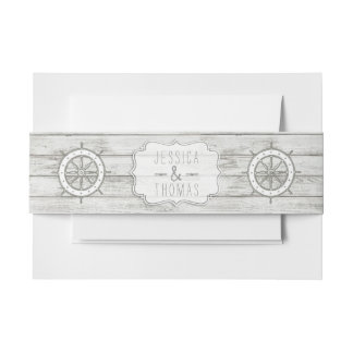 Bandeau De Faire-part Collection en bois blanchie nautique de mariage de