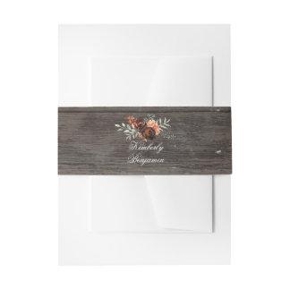Bandeaux De Faire-part Fleurs rustiques d'aquarelle en bois et de
