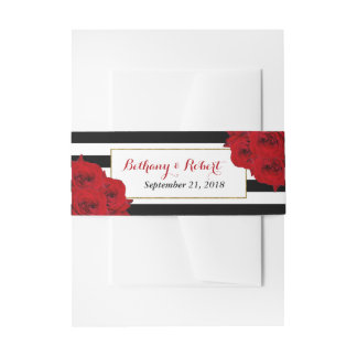 Bandeaux De Faire-part Les roses rouges de collection Luxe moderne chic