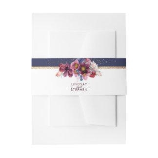 Bandeaux De Faire-part Mariage élégant de fleurs de Bourgogne de marine
