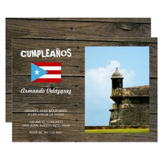 Bandera Celeste Puerto Rico Cumpleanos Invitacion 8,9 X 12,7 Cm Einladungskarte