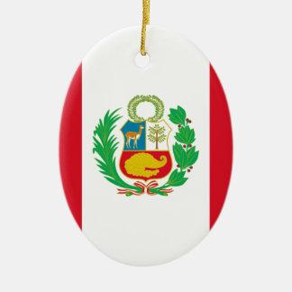 Bandera Del Perú - Flagge von Peru Ovales Keramik Ornament